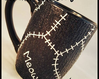 Catwoman Stitches custom painted coffee mug. Inspired by Iconic Catwoman suit, Batman Returns.