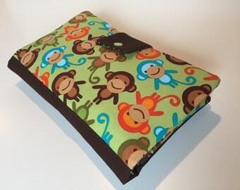 Diaper Bag / Clutch 'Monkey Party' green-brown