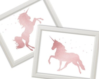 Set of 2 Rose Gold Unicorn Prints, Nursery Unicorns Printable Art, Children's Decor, Kid's Room Poster Unicorns Nursery Decor, DIGITAL FILES