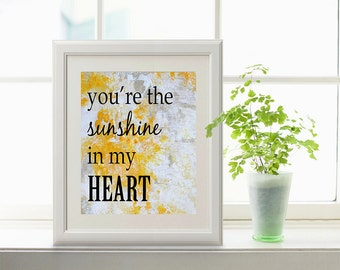 SUNSHINE in my HEART  Original Art Print, Yellow Abstract Painting , Inspirational Quotes,  Contemporary Wall Art