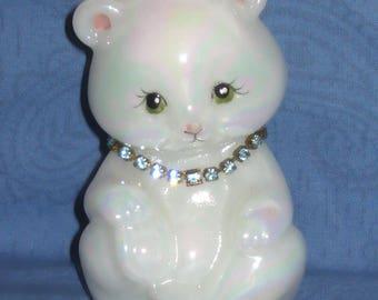 Fenton White Carnival Glass Bear Hand Painted Animal Figurine March Aquamarine Blue Rhinestone Birthstone Necklace