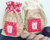 Love Knitting drawstring project bag