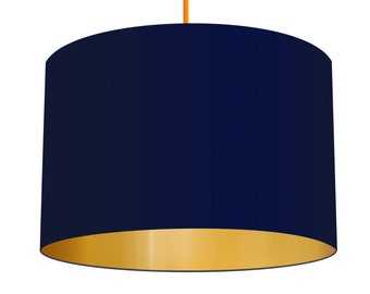 Navy Blue Linen Fabric Drum Lampshade With Mirrored Metallic Gold Effect Lining