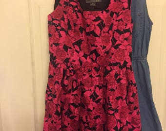 Pink and black rose dress