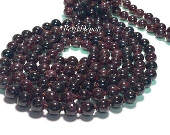 Garnet Necklace Long Bead Necklace Natural Stone Necklace Knotted 60 inches long Burgundy Beaded necklace