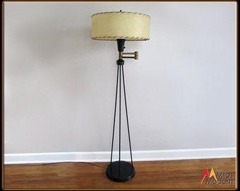 Vintage 50s Mid Century Modern Black Atomic Tri Leg Floor Lamp Fiberglass Shade NICE
