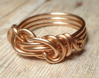 Rose Gold Infinity Love Ring, Infinity Ring, Gift for Her, Rose Gold Ring, Size 4 5 6 7 8 9 10 11 12 13 14, Love Knot Ring