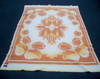 Vintage Crown Royal Made in Holland 100% Wool Tulip Thick Cabin Blanket Size 80 inches tall by 58 inches wide