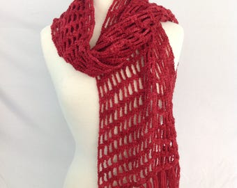 Alpaca Scarf, Hand Crocheted, Lacy Alpaca Scarf with fringe, Hand Dyed Deep Russet from 100% Alpaca yarn