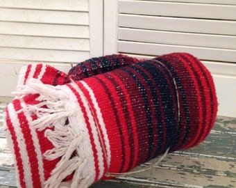 """Mexican Falsa Blanket 4"""" Fringe 50x75 Picnic Blanket Winter Throw, Red White and Blue"""