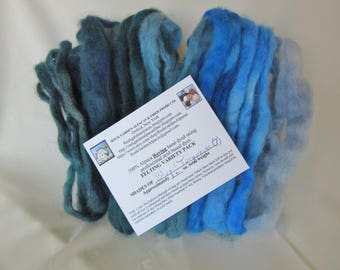 1.0 oz. Alpaca Roving - Hand Dyed - Shades of Blue & Turquoise - Felting Variety Pack