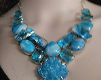 Aqua Blue druzy,agate and mother of pearl,925 Sterling Silver bib necklace,free shipping in the USA