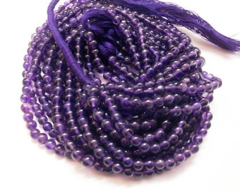 Natural Amethyst Beads Strand Round Shape Smooth African Origin Size 4 mm Length 13''