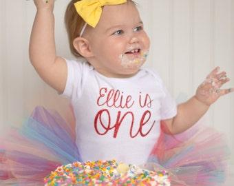 Rainbow Birthday Outfit...Rainbow First Birthday Outfit...Rainbow Tutu...First Birthday Girl Outfit...Baby Girl 1st Birthday...Cake Smash