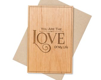 Romantic 5th Year Anniversary Gift for Him. Fifth Anniversary Gift Wood Card Gift for Her.