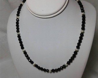 Faceted Onyx in black.