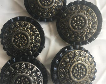 Vintage Black Celluloid and Metal Buttons Set of 5