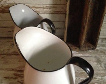 2 vintage white enamelware pitchers,graniteware milk pitchers,rustic home,farmhouse kitchen,camper,cottage style