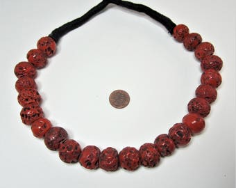 Old coral like glass trade beads necklace