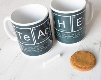 SECONDS SALE *** TEACHER Mug Chalk Board Science Funny Gift Periodic Table Elements Ceramic Big Bang Theory Breaking Bad Back to School