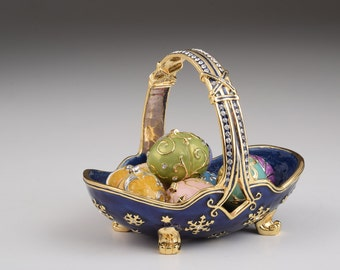 Limited Edition Blue Basket with Small Faberge Eggs Handmade Decorated with Swarovski Crystals