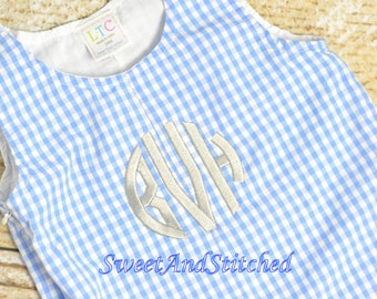 Personalized Baby Boy blue longall - Boys Easter Outfit, baby boy easter longall, easter oufit boys, blue gingham Easter outfit