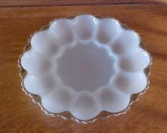 """Vintage Anchor Hocking Milk Glass 10"""" Deviled Egg Plate Holds 12"""
