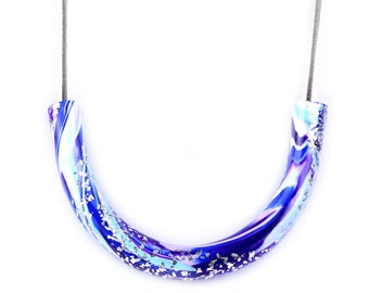 Galaxy swirl necklace, marble curve necklace, marble necklace, geometric necklace, galaxy necklace, purple and blue necklace, blue necklace