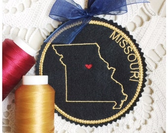 I Heart Missouri Coaster and Ornament Machine Embroidery Design Instant Download I Love Missouri with Positionable Heart
