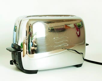 Vintage 1950s GE Chrome Toaster, General Electric Two Slice Toaster, Model 82T82, Working Condition