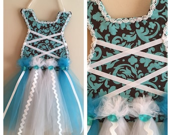 Turquoise and Brown Hair Bow Holder Dress