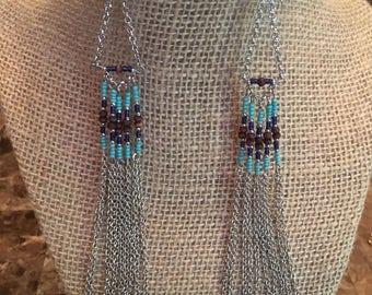 Dangle Chain Earrings with Beautiful colored beads