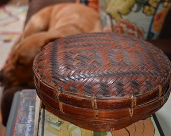 Vintage round Chinese Asian woven wicker sewing lidded basket