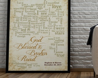 1st Paper Anniversary Gift for husband wife-Song Lyrics-God Blessed the Broken Road by Rascal Flatts-Personalized names, date pick colors