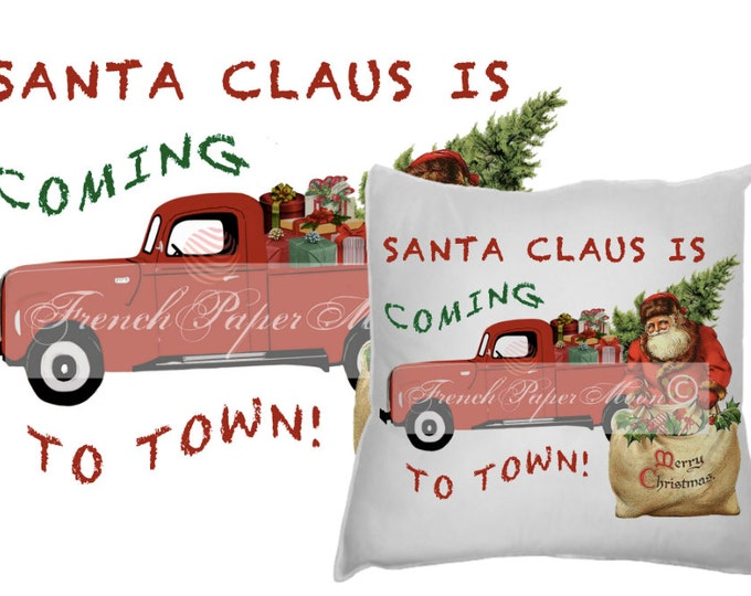 Vintage Digital Hand-drawn Red Christmas Truck with gifts, Christmas Tree, Santa, Christmas Pillow Graphic Transfer Image Download