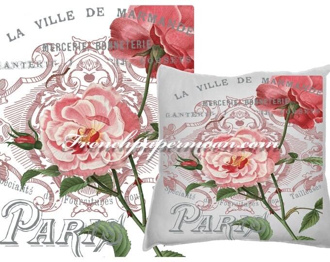 Digital Collage Sheet Download, Floral French Typography Image Transfer, Digital Paper - Instant Download Printables