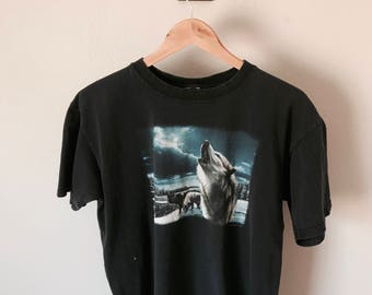 Lightly Distressed Wolf Tee