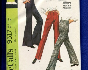 1960's McCalls 9517 Retro 60's Bell Bottom Pants with Fitted Waist & Cuffs Size 12 UNCUT