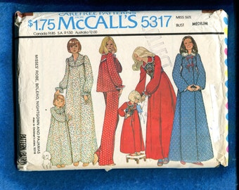 1976 McCalls 5317 Country Cozy Nightgown Robe & Pajamas Size Medium 14/16