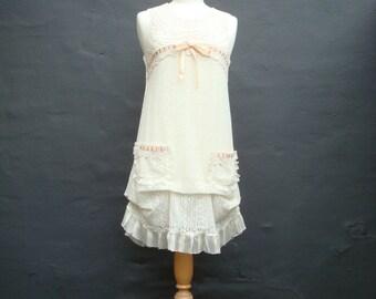 Upcycled Wedding Dress Short Wedding Dress Ivory Cream Wedding Dress Repurposed Wedding Dress Altered Wedding Gown Mori Girl Woodland Fairy