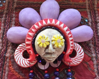 Flower Child Wallhanging Ceramic Mask Sculpture with Beads and Weaving
