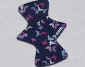 "Bamboo Terry Topped. Reusable Modern Cloth Pad featuring butterfly print (22cm/8.75"")"