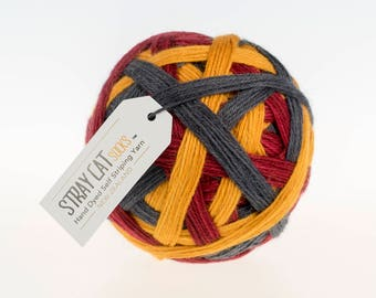 MULLED WINE - vibrant hand dyed self striping sock yarn