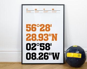 Dundee United Football Stadium Coordinates Posters
