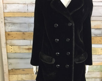 Gorgeous fluffy Bickler black faux fur 60's coat