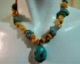 Vintage turquoise and stone necklace. Earthtones.