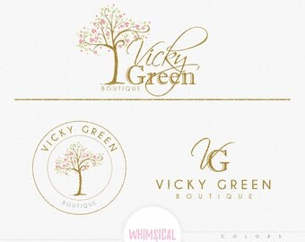 Whimsical Cute swirly tree -Premade Photography Logo and Watermark, Classic Elegant Script Font GOLD GLITTER TREE childrenCalligraphy Logo