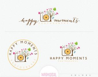 Cute Camera Tree - cute camera logo design cute branding for children and newborn photography business fully customized branding kit
