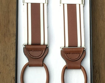 Claremont Stripe Suspenders Brown: Circa 1933 Collection