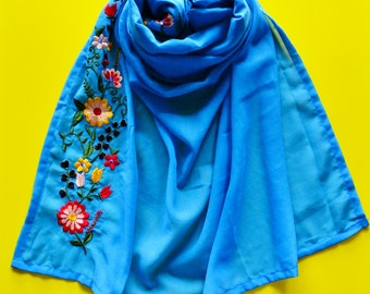 Azure Blue Peranakan Embroidered Shawl / Wrap / Scarf With Bright Spring Floral Designs